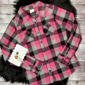 O'NEILL Womens Pink Black Grey Flannel Shirt